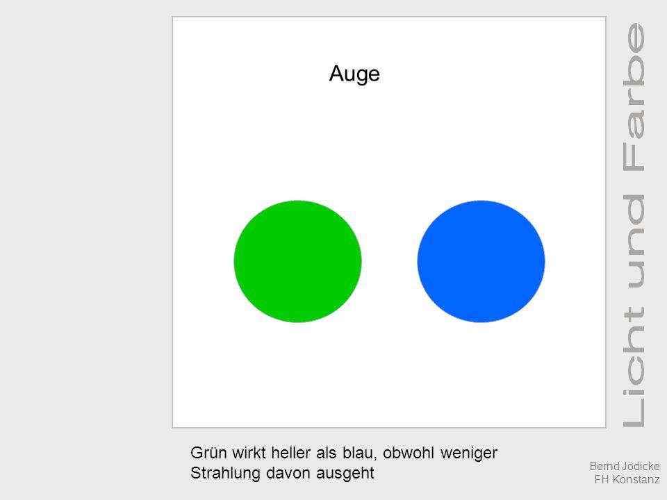Auge Grün wirkt heller als blau, obwohl weniger Strahlung davon ausgeht Bernd Jödicke FH Konstanz