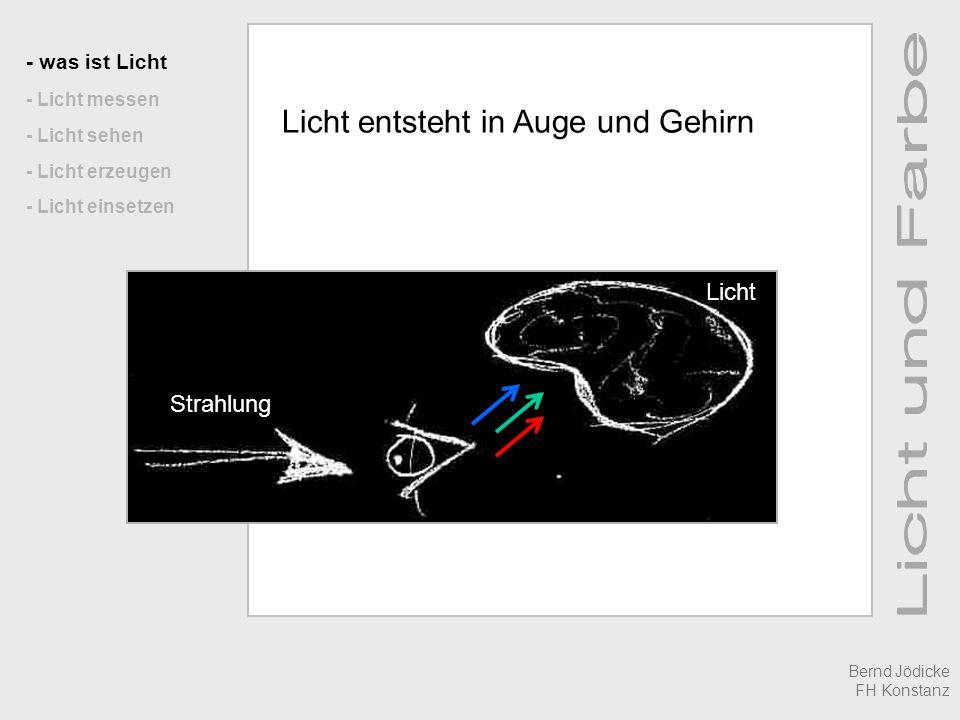 - was ist Licht - Licht messen - Licht sehen - Licht erzeugen - Licht einsetzen Licht entsteht in Auge und Gehirn Strahlung Licht Bernd Jödicke FH Konstanz