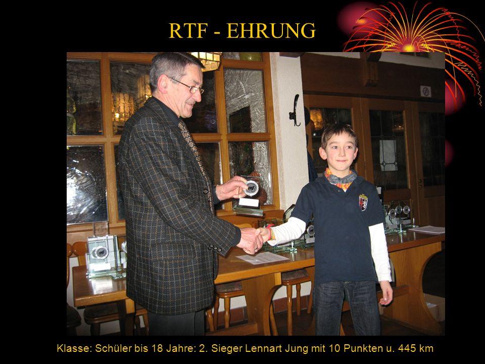 Klasse: Schüler bis 18 Jahre: 2. Sieger Lennart Jung mit 10 Punkten u. 445 km