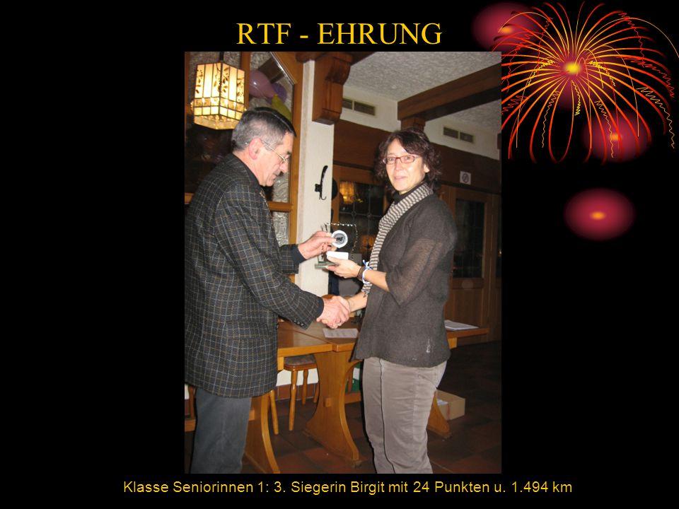 RTF - EHRUNG Klasse Seniorinnen 1: 3. Siegerin Birgit mit 24 Punkten u. 1.494 km
