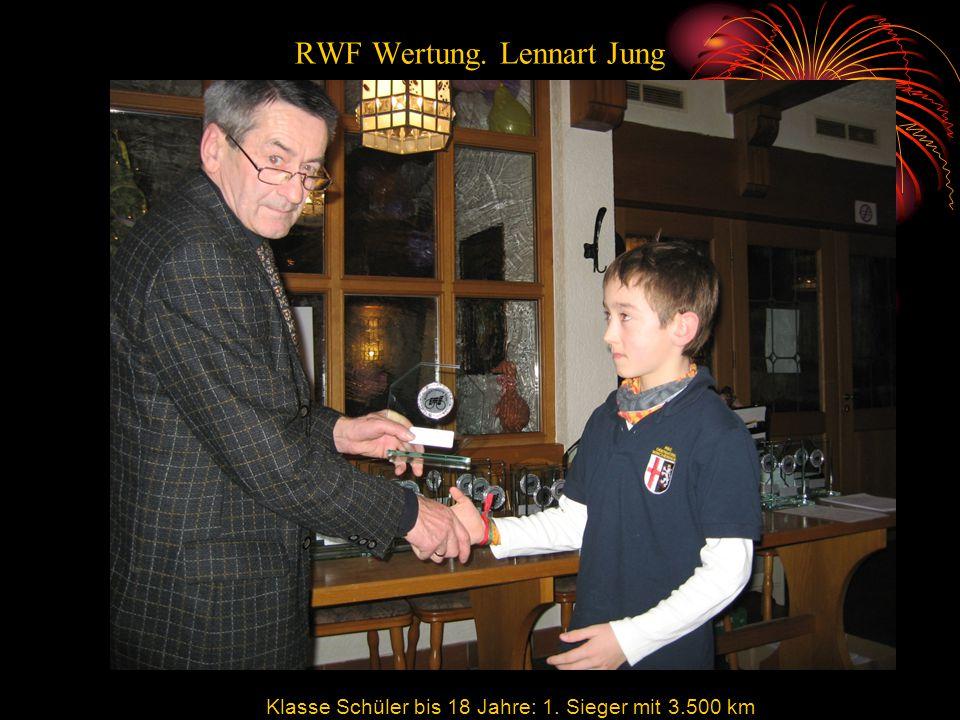 RWF Wertung. Lennart Jung Klasse Schüler bis 18 Jahre: 1. Sieger mit 3.500 km