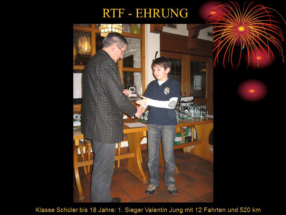 RTF Valentin Jung Klasse Schüler bis 18 Jahre: 1. Sieger Valentin Jung mit 12 Fahrten und 520 km RTF - EHRUNG
