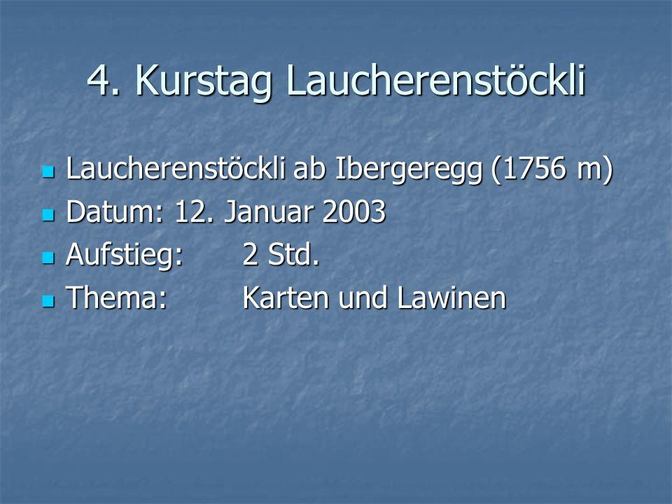 4. Kurstag Laucherenstöckli Laucherenstöckli ab Ibergeregg (1756 m) Laucherenstöckli ab Ibergeregg (1756 m) Datum: 12. Januar 2003 Datum: 12. Januar 2
