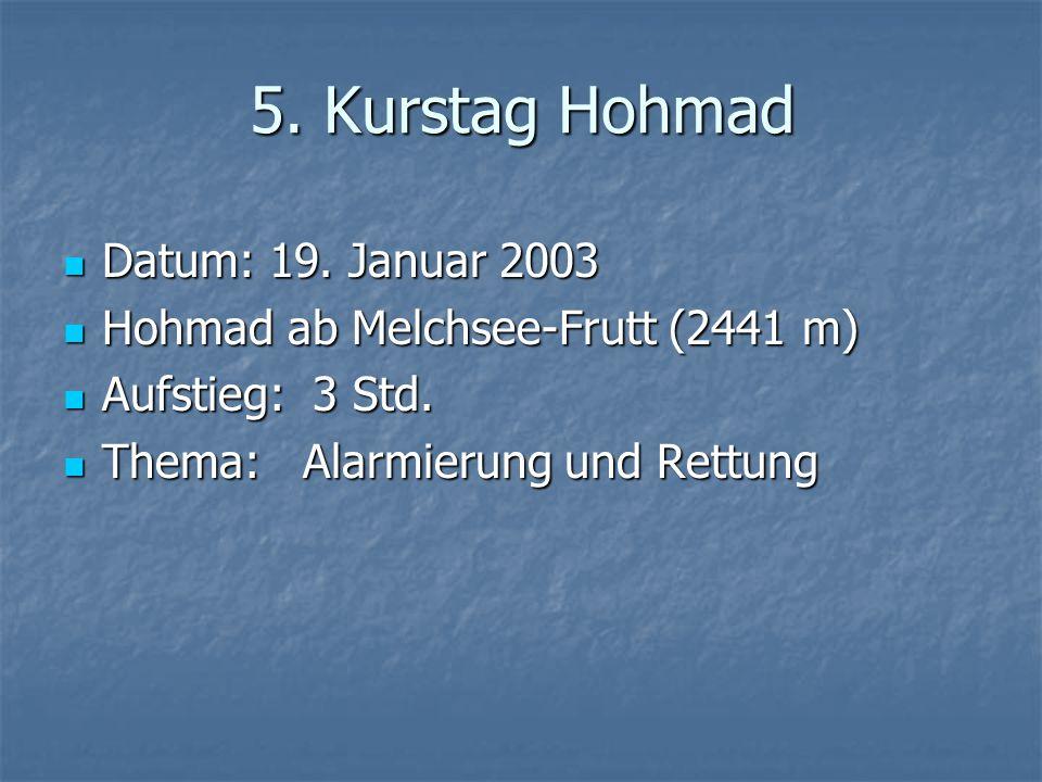 5. Kurstag Hohmad Datum: 19. Januar 2003 Datum: 19.