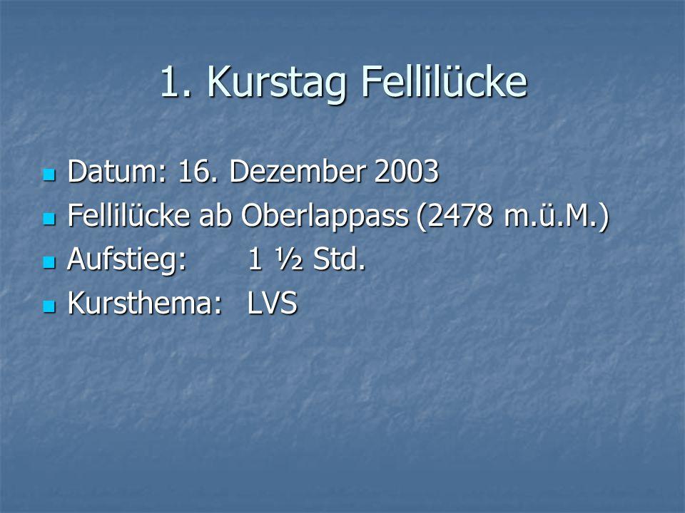 1. Kurstag Fellilücke Datum: 16. Dezember 2003 Datum: 16.