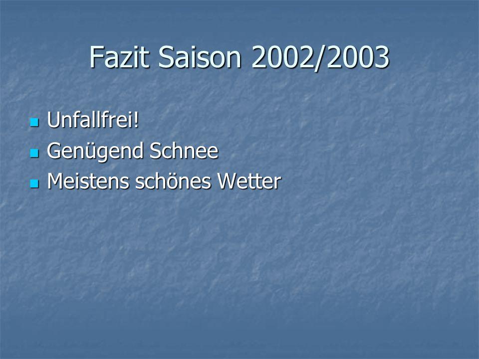 Fazit Saison 2002/2003 Unfallfrei. Unfallfrei.