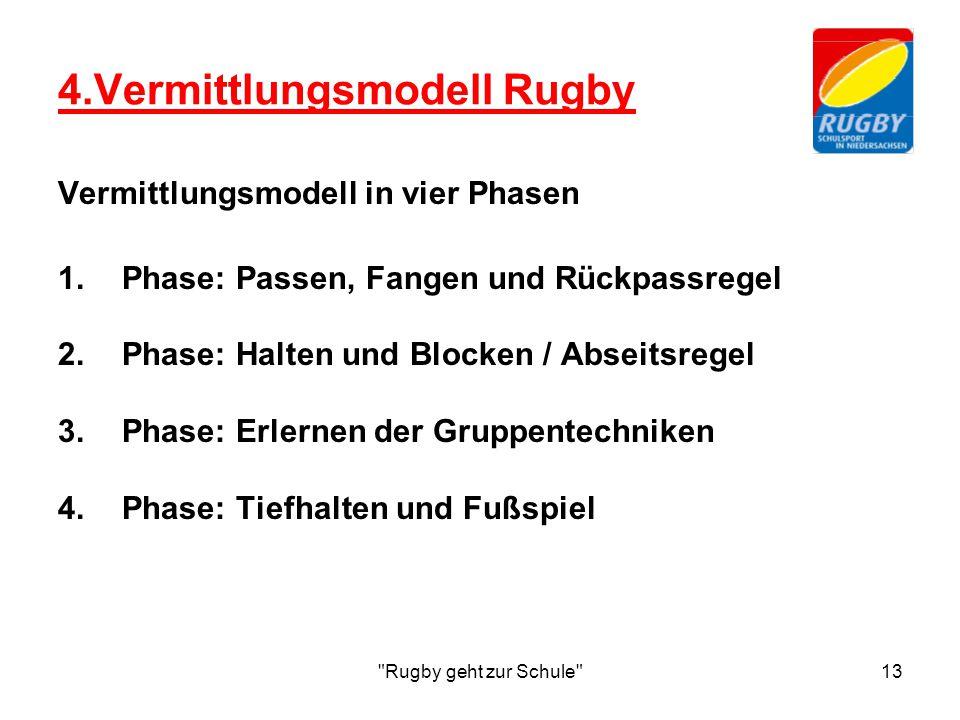 Rugby geht zur Schule 13 4.Vermittlungsmodell Rugby Vermittlungsmodell in vier Phasen 1.Phase: Passen, Fangen und Rückpassregel 2.Phase: Halten und Blocken / Abseitsregel 3.Phase: Erlernen der Gruppentechniken 4.Phase: Tiefhalten und Fußspiel