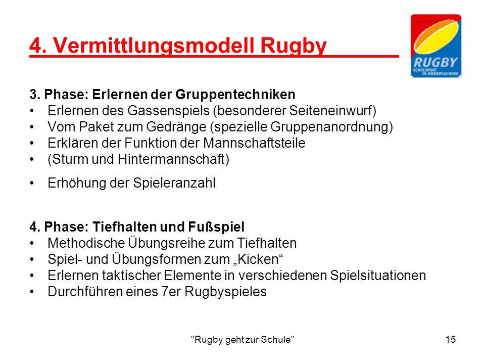 Rugby geht zur Schule 15 4.Vermittlungsmodell Rugby 3.
