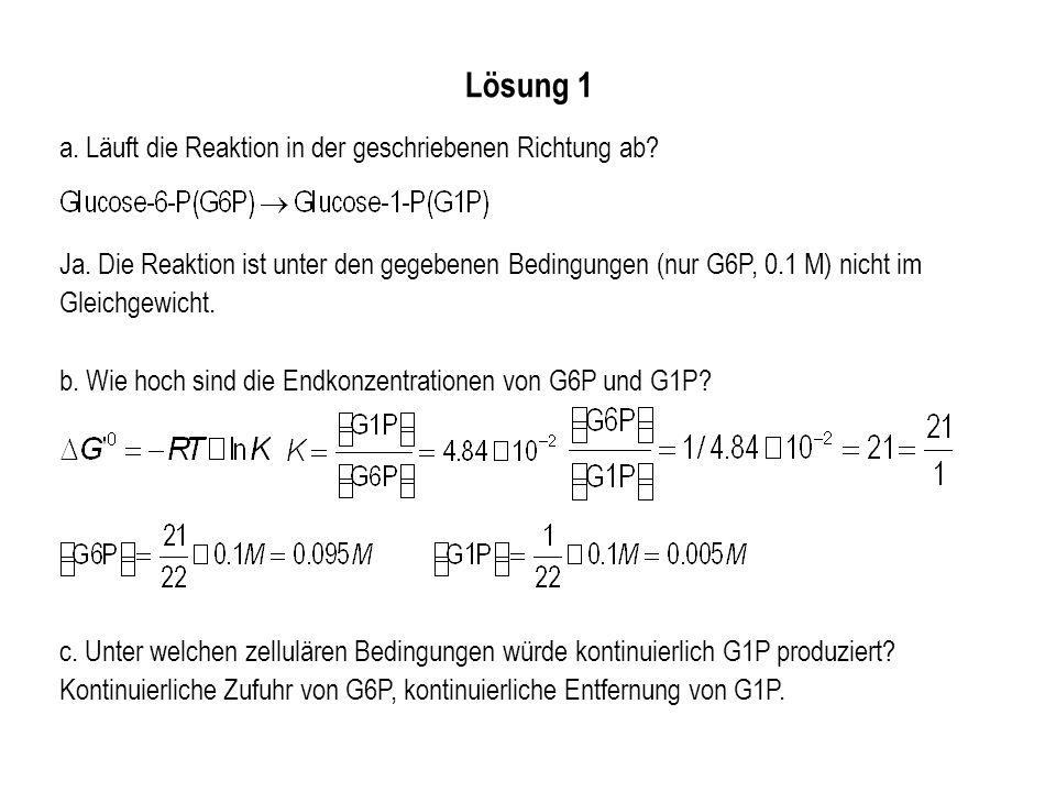 Lösung 1 a. Läuft die Reaktion in der geschriebenen Richtung ab? Ja. Die Reaktion ist unter den gegebenen Bedingungen (nur G6P, 0.1 M) nicht im Gleich