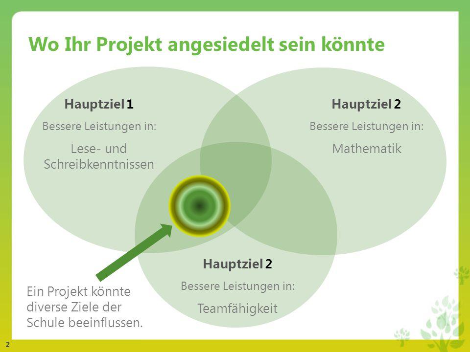 2 Wo Ihr Projekt angesiedelt sein könnte Ein Projekt könnte diverse Ziele der Schule beeinflussen.