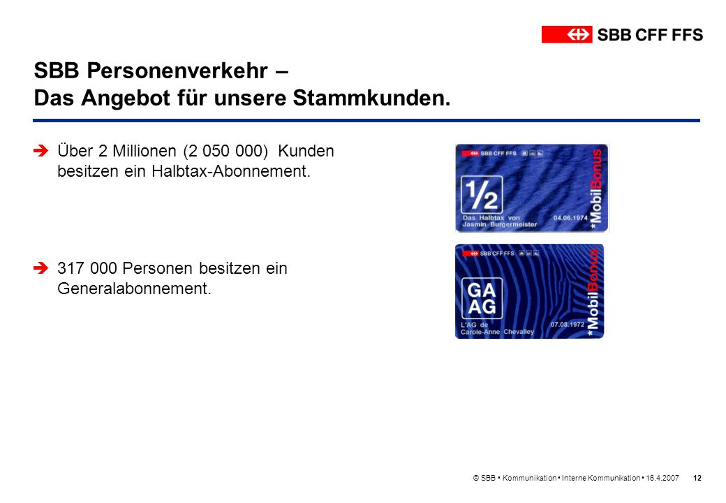 © SBB Kommunikation Interne Kommunikation 16.4.200712 SBB Personenverkehr – Das Angebot für unsere Stammkunden. Über 2 Millionen (2 050 000) Kunden be