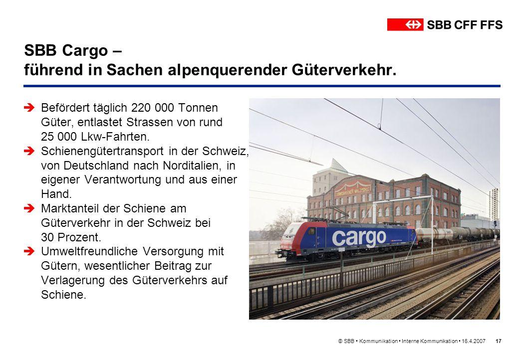 © SBB Kommunikation Interne Kommunikation 16.4.200717 SBB Cargo – führend in Sachen alpenquerender Güterverkehr. Befördert täglich 220 000 Tonnen Güte