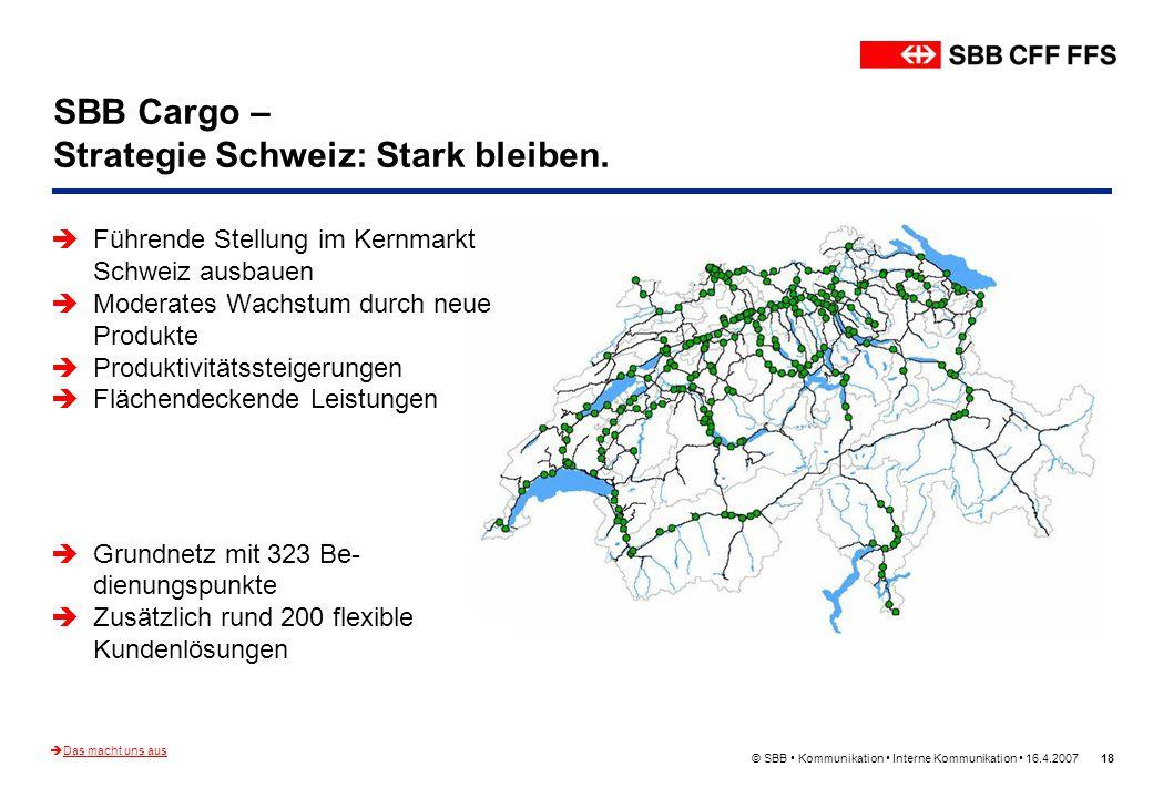 © SBB Kommunikation Interne Kommunikation 16.4.200718 SBB Cargo – Strategie Schweiz: Stark bleiben. Führende Stellung im Kernmarkt Schweiz ausbauen Mo