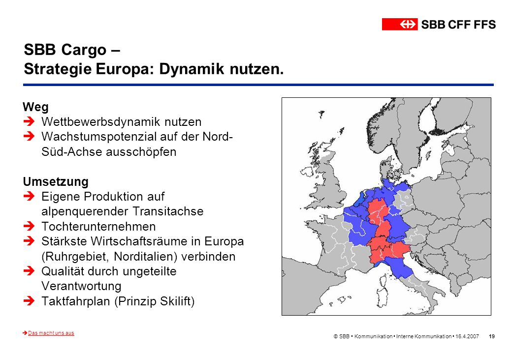 © SBB Kommunikation Interne Kommunikation 16.4.200719 SBB Cargo – Strategie Europa: Dynamik nutzen. Weg Wettbewerbsdynamik nutzen Wachstumspotenzial a