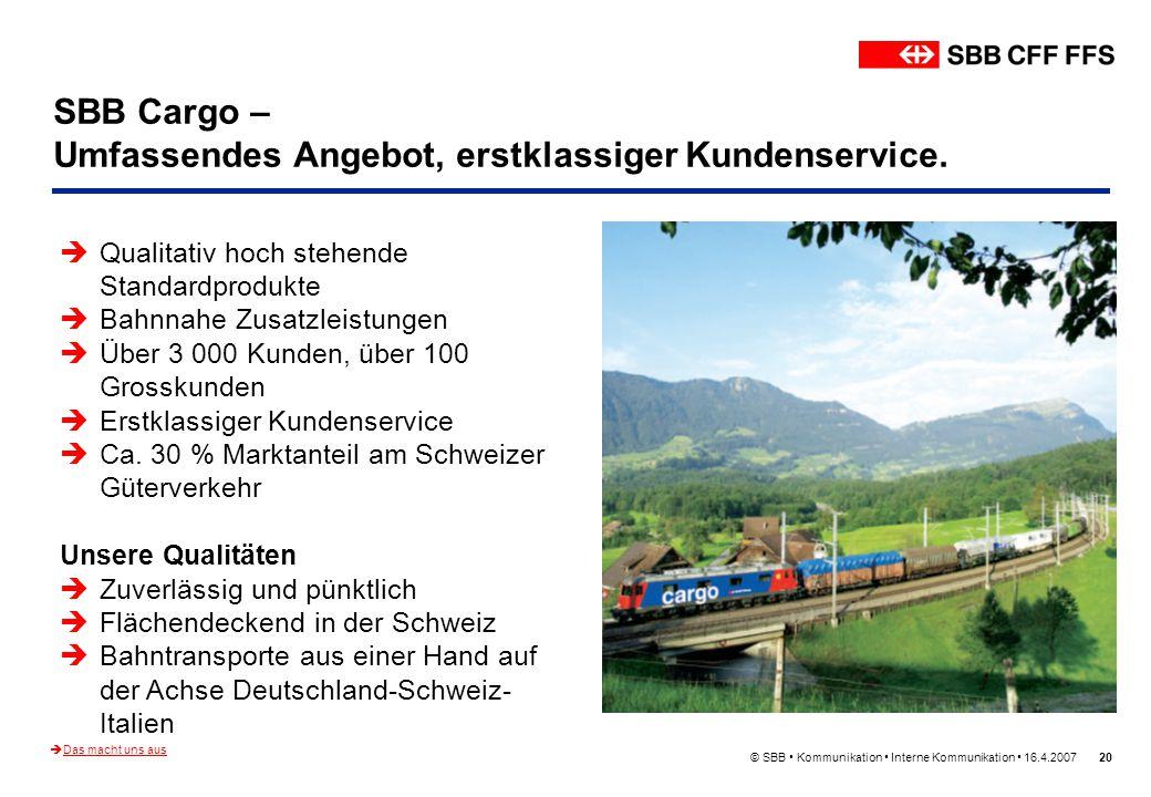© SBB Kommunikation Interne Kommunikation 16.4.200720 SBB Cargo – Umfassendes Angebot, erstklassiger Kundenservice. Das macht uns aus Qualitativ hoch