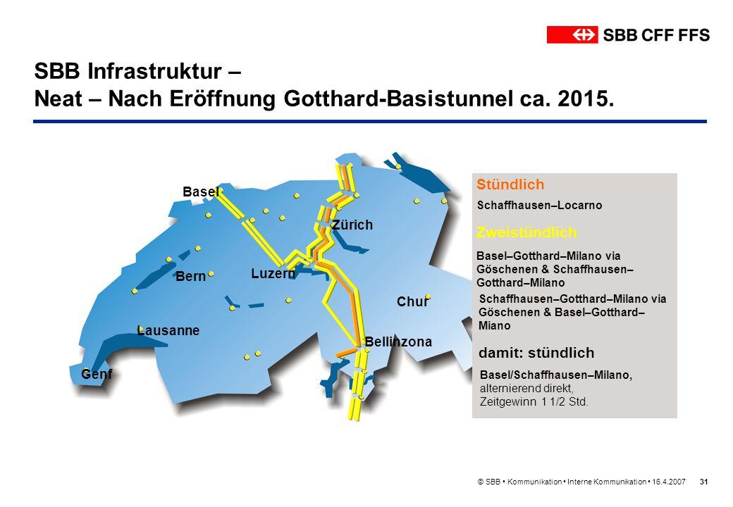 © SBB Kommunikation Interne Kommunikation 16.4.200731 SBB Infrastruktur – Neat – Nach Eröffnung Gotthard-Basistunnel ca. 2015. Bern Lausanne Genf Züri