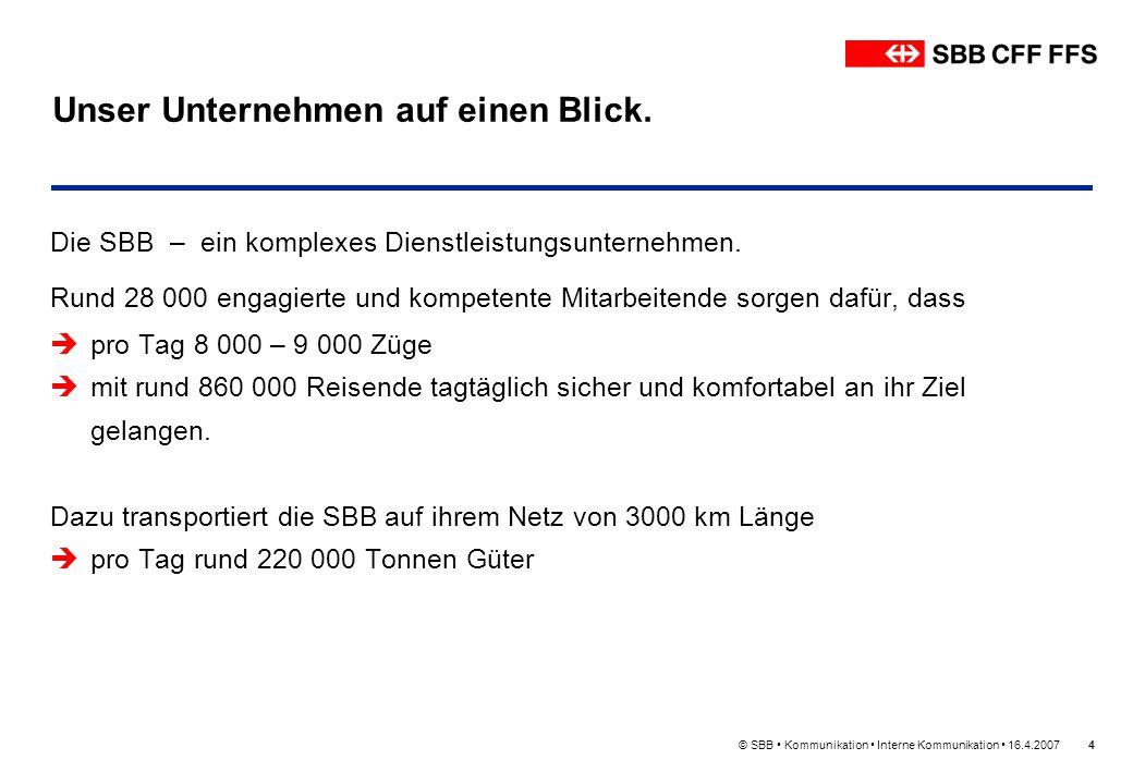 © SBB Kommunikation Interne Kommunikation 16.4.20074 Unser Unternehmen auf einen Blick. Die SBB – ein komplexes Dienstleistungsunternehmen. Rund 28 00
