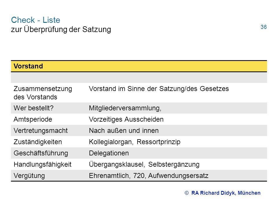Check - Liste zur Überprüfung der Satzung Vorstand Zusammensetzung des Vorstands Vorstand im Sinne der Satzung/des Gesetzes Wer bestellt?Mitgliederver