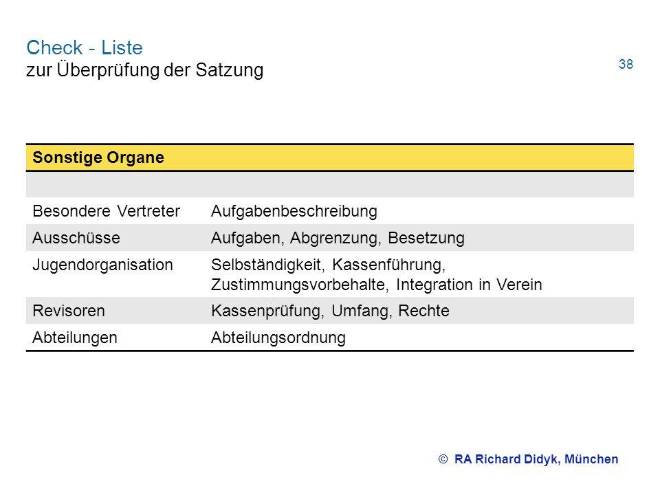 Check - Liste zur Überprüfung der Satzung Sonstige Organe Besondere VertreterAufgabenbeschreibung AusschüsseAufgaben, Abgrenzung, Besetzung Jugendorga