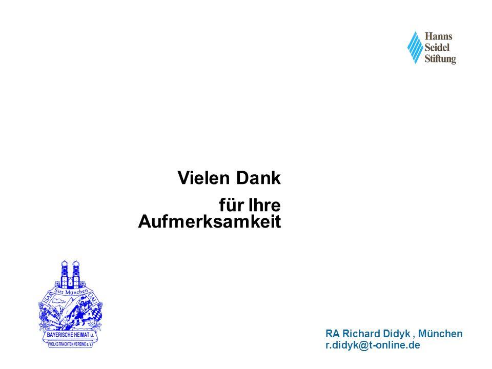 Vielen Dank für Ihre Aufmerksamkeit RA Richard Didyk, München r.didyk@t-online.de