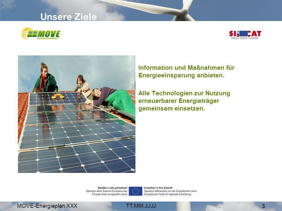 MOVE-Energieplan XXXTT.MM.JJJJ 6 Energie-Effizienz Fossile Energie und Atomstrom durch erneuerbare Energieträger ersetzen –Sonne –Wind –Biomasse –Kleinwasserkraft –Geothermie Regional arbeiten Unsere Schwerpunkte