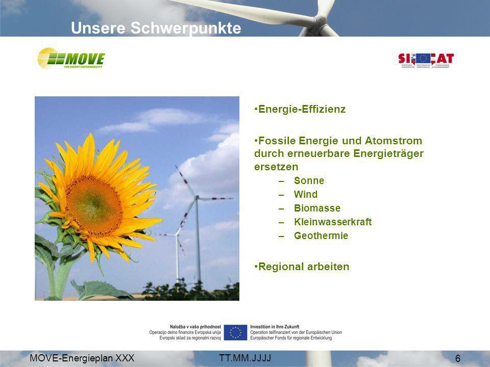MOVE-Energieplan XXXTT.MM.JJJJ 6 Energie-Effizienz Fossile Energie und Atomstrom durch erneuerbare Energieträger ersetzen –Sonne –Wind –Biomasse –Klei