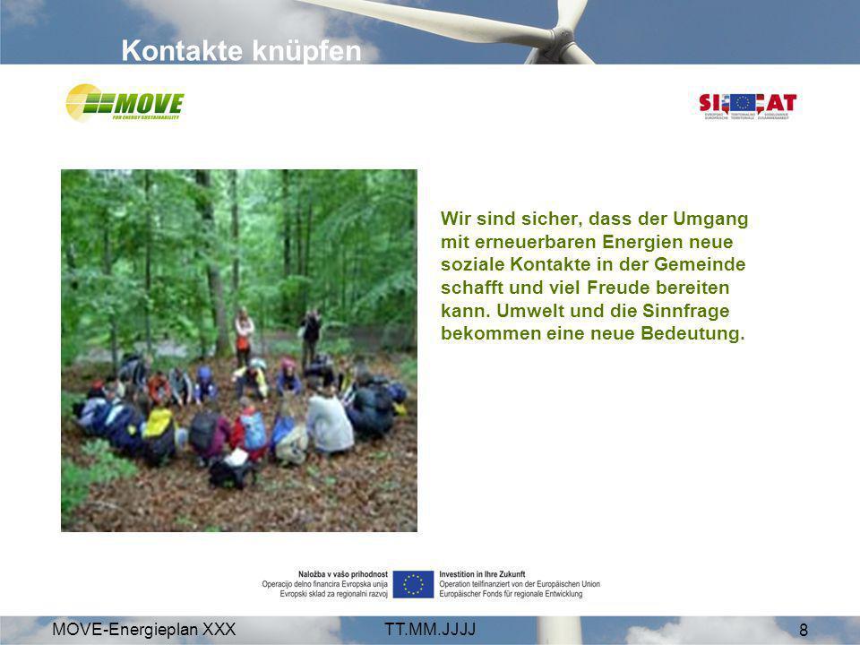 MOVE-Energieplan XXXTT.MM.JJJJ 8 Wir sind sicher, dass der Umgang mit erneuerbaren Energien neue soziale Kontakte in der Gemeinde schafft und viel Fre