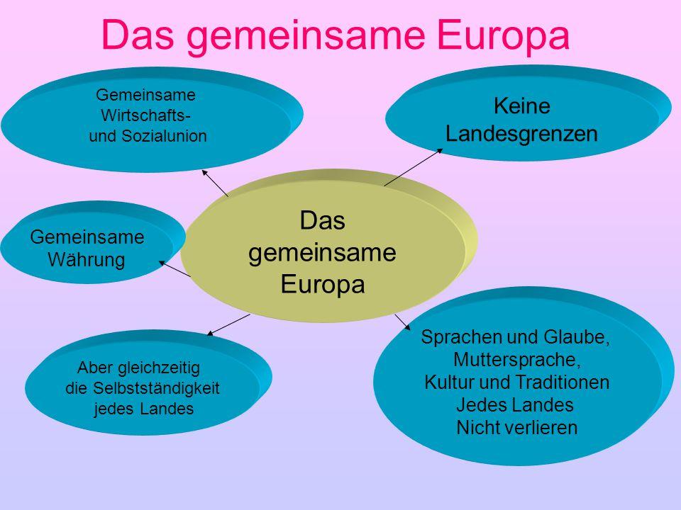 Das gemeinsame Europa Gemeinsame Wirtschafts- und Sozialunion Keine Landesgrenzen Aber gleichzeitig die Selbstständigkeit jedes Landes Gemeinsame Währ