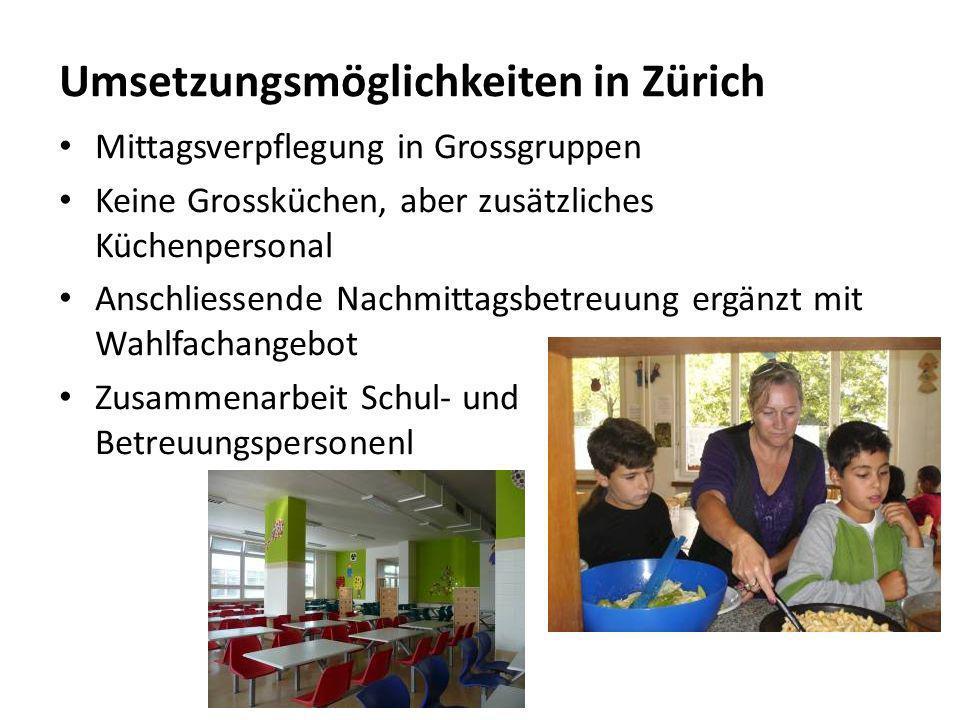 Umsetzungsmöglichkeiten in Zürich Mittagsverpflegung in Grossgruppen Keine Grossküchen, aber zusätzliches Küchenpersonal Anschliessende Nachmittagsbetreuung ergänzt mit Wahlfachangebot Zusammenarbeit Schul- und Betreuungspersonenl