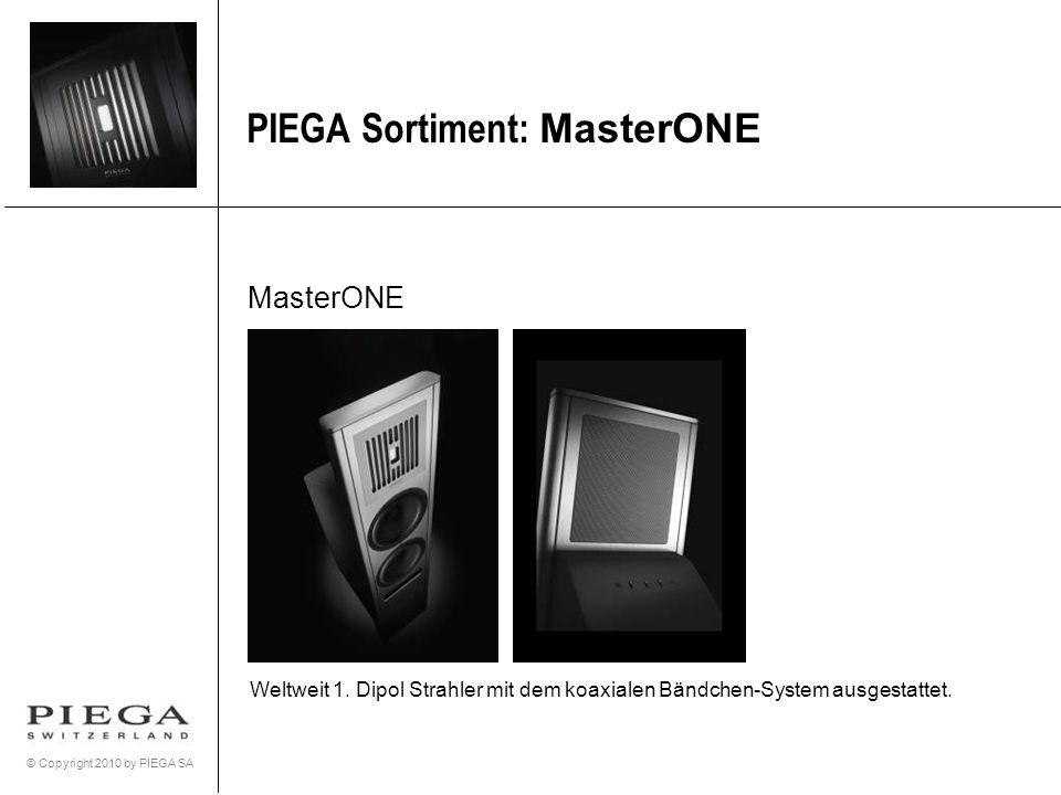 © Copyright 2010 by PIEGA SA PIEGA Sortiment: MasterONE MasterONE Weltweit 1. Dipol Strahler mit dem koaxialen Bändchen-System ausgestattet.