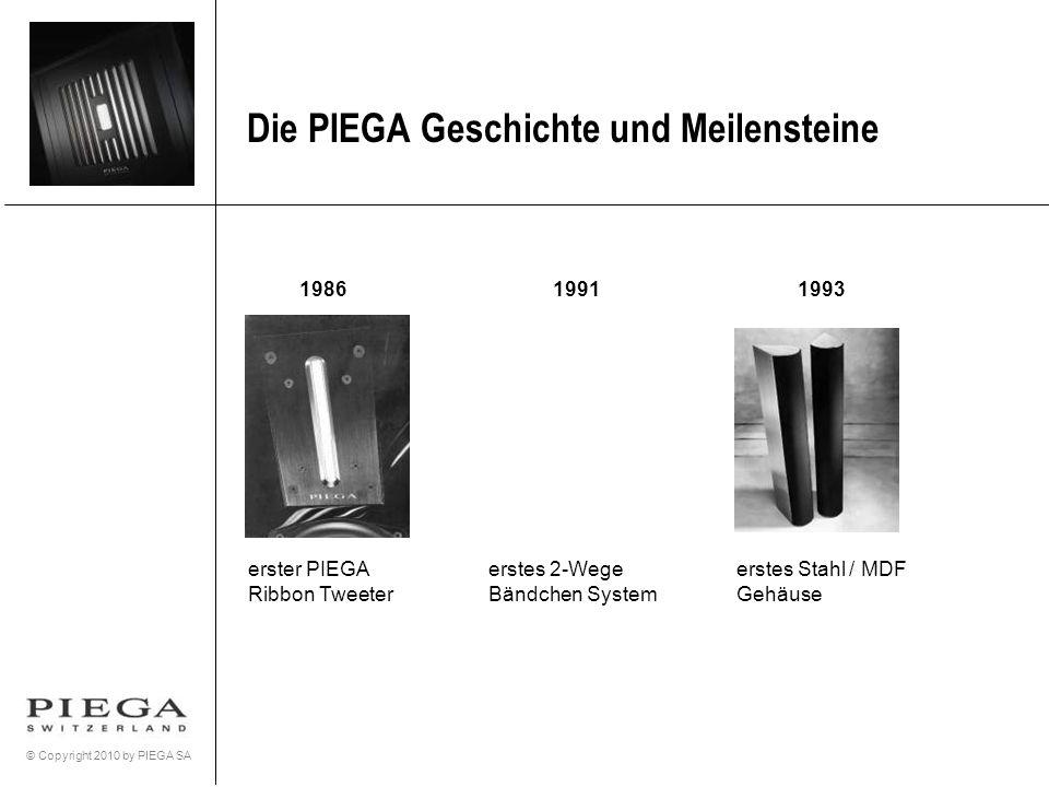 © Copyright 2010 by PIEGA SA Die PIEGA Geschichte und Meilensteine 19861991 erster PIEGA Ribbon Tweeter erstes 2-Wege Bändchen System 1993 erstes Stah
