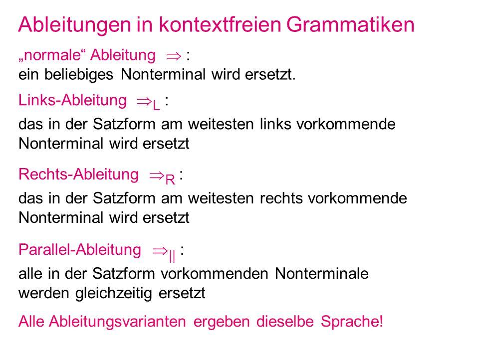 Ableitungen in kontextfreien Grammatiken normale Ableitung : ein beliebiges Nonterminal wird ersetzt. Links-Ableitung L : das in der Satzform am weite