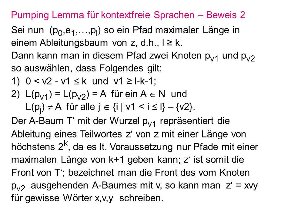 Pumping Lemma für kontextfreie Sprachen – Beweis 2 Sei nun (p 0,e 1,…,p l ) so ein Pfad maximaler Länge in einem Ableitungsbaum von z, d.h., l k. Dann