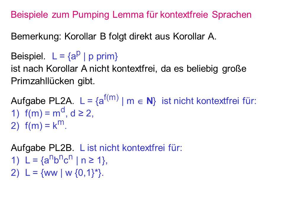 Beispiele zum Pumping Lemma für kontextfreie Sprachen Bemerkung: Korollar B folgt direkt aus Korollar A. Beispiel. L = {a p | p prim} ist nach Korolla