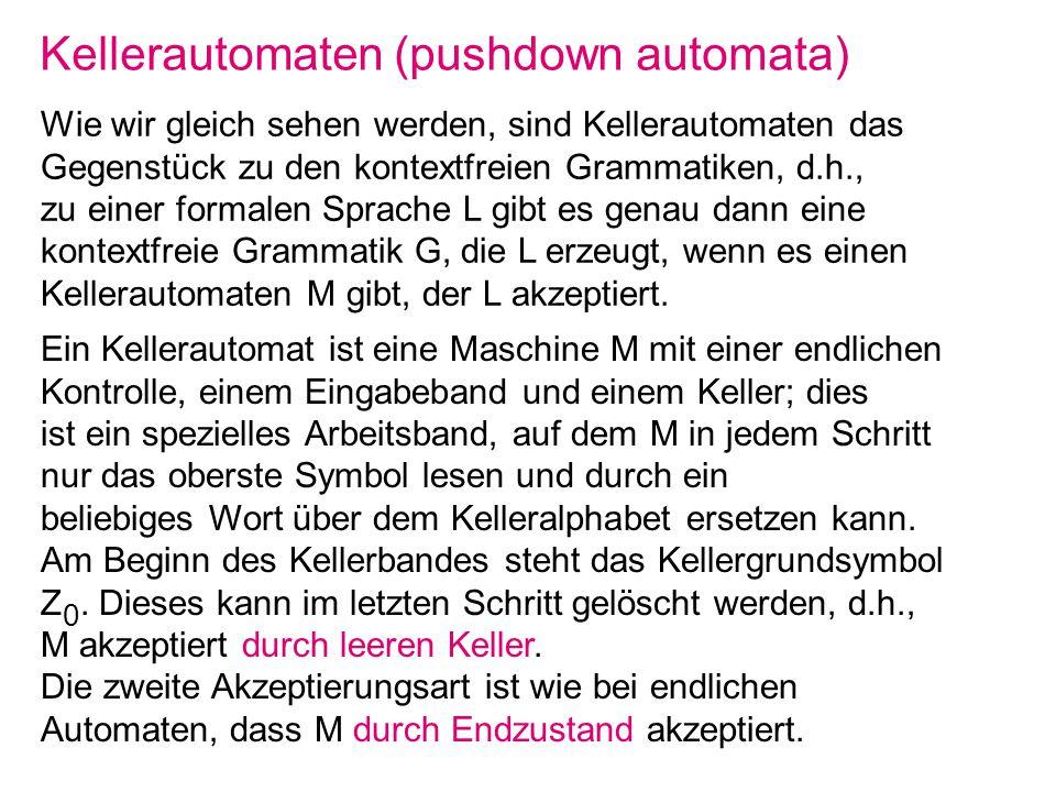 Kellerautomaten (pushdown automata) Wie wir gleich sehen werden, sind Kellerautomaten das Gegenstück zu den kontextfreien Grammatiken, d.h., zu einer