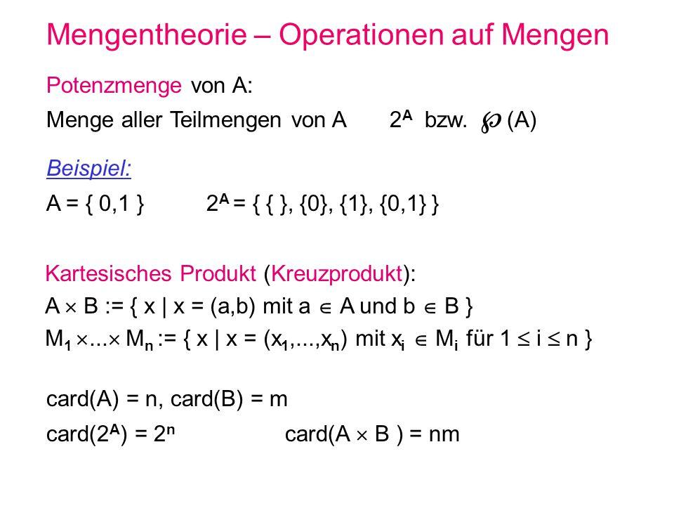 Mengentheorie – Operationen auf Mengen Kartesisches Produkt (Kreuzprodukt): A B := { x | x = (a,b) mit a A und b B } M 1... M n := { x | x = (x 1,...,