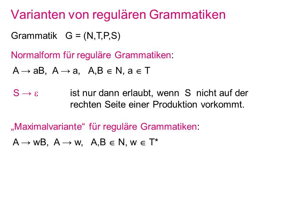 Varianten von regulären Grammatiken Grammatik G = (N,T,P,S) Normalform für reguläre Grammatiken: A aB, A a, A,B N, a T S ist nur dann erlaubt, wenn S
