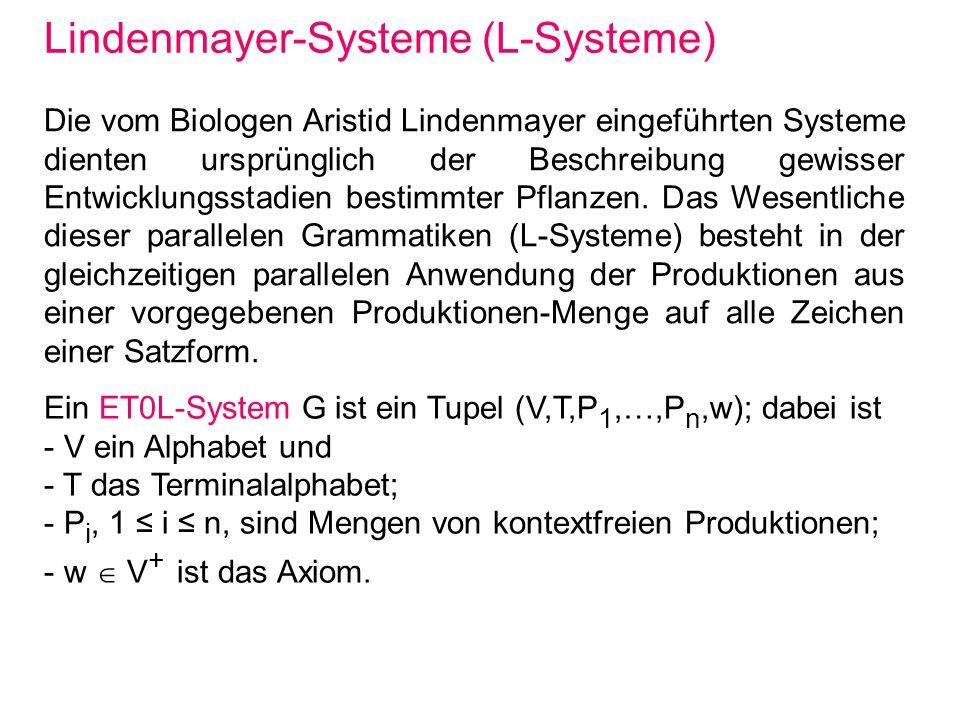 Lindenmayer-Systeme (L-Systeme) Die vom Biologen Aristid Lindenmayer eingeführten Systeme dienten ursprünglich der Beschreibung gewisser Entwicklungss