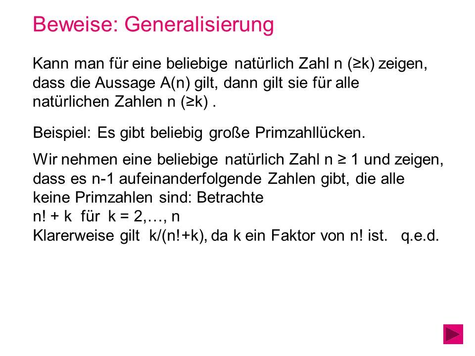 Beweise: Generalisierung Kann man für eine beliebige natürlich Zahl n (k) zeigen, dass die Aussage A(n) gilt, dann gilt sie für alle natürlichen Zahle
