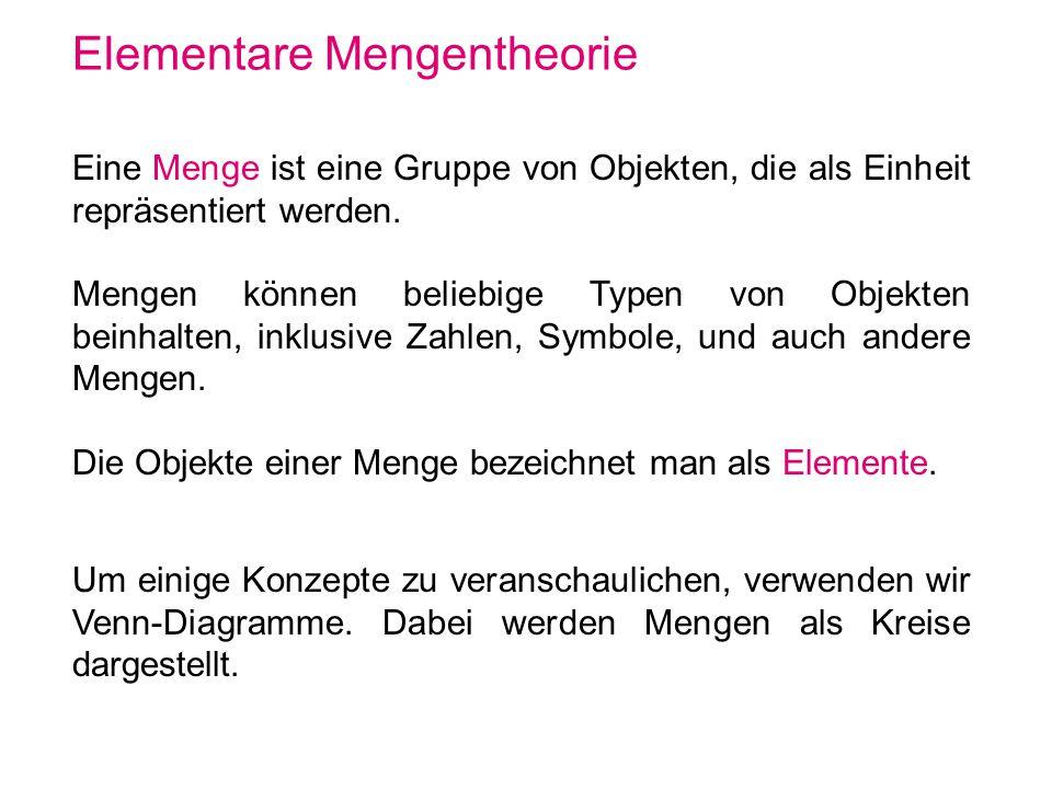 Elementare Mengentheorie Eine Menge ist eine Gruppe von Objekten, die als Einheit repräsentiert werden. Mengen können beliebige Typen von Objekten bei