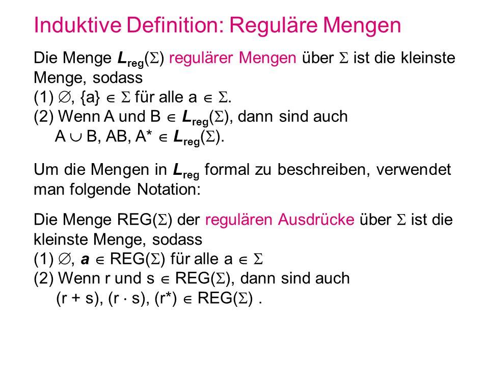 Induktive Definition: Reguläre Mengen Die Menge L reg ( ) regulärer Mengen über ist die kleinste Menge, sodass (1), {a} für alle a. (2) Wenn A und B L