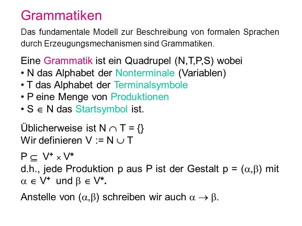 Grammatiken Das fundamentale Modell zur Beschreibung von formalen Sprachen durch Erzeugungsmechanismen sind Grammatiken. Eine Grammatik ist ein Quadru