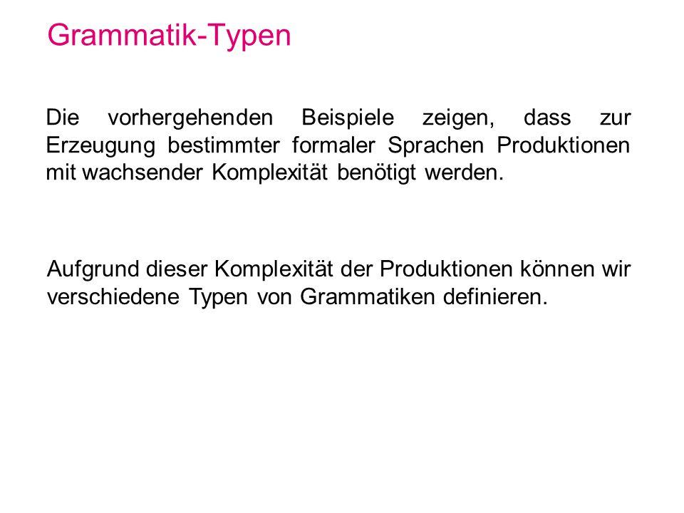 Grammatik-Typen Die vorhergehenden Beispiele zeigen, dass zur Erzeugung bestimmter formaler Sprachen Produktionen mit wachsender Komplexität benötigt