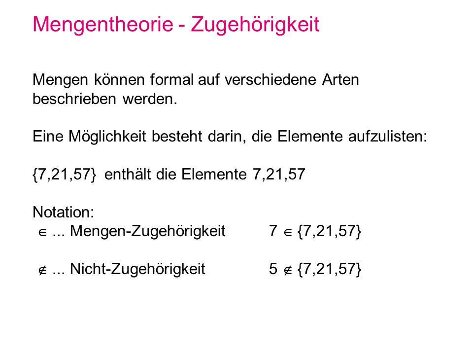 Mengentheorie - (Multi-) Mengen Die Reihenfolge der Elemente und auch deren Wiederholung in einer Menge ist nicht von Bedeutung.