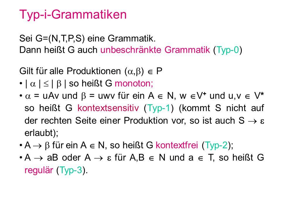 Typ-i-Grammatiken Sei G=(N,T,P,S) eine Grammatik. Dann heißt G auch unbeschränkte Grammatik (Typ-0) Gilt für alle Produktionen (, ) P | | | | so heißt