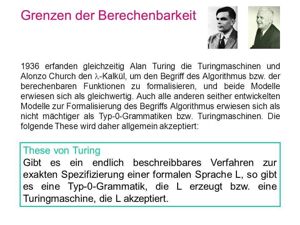 Grenzen der Berechenbarkeit 1936 erfanden gleichzeitig Alan Turing die Turingmaschinen und Alonzo Church den -Kalkül, um den Begriff des Algorithmus b