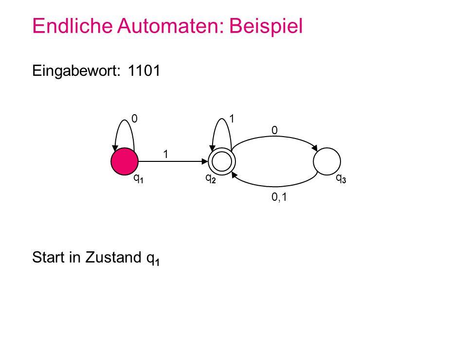 Endliche Automaten: Beispiel 0 q1q1 q2q2 q3q3 1 1 0 0,1 Eingabewort: 1101 Start in Zustand q 1