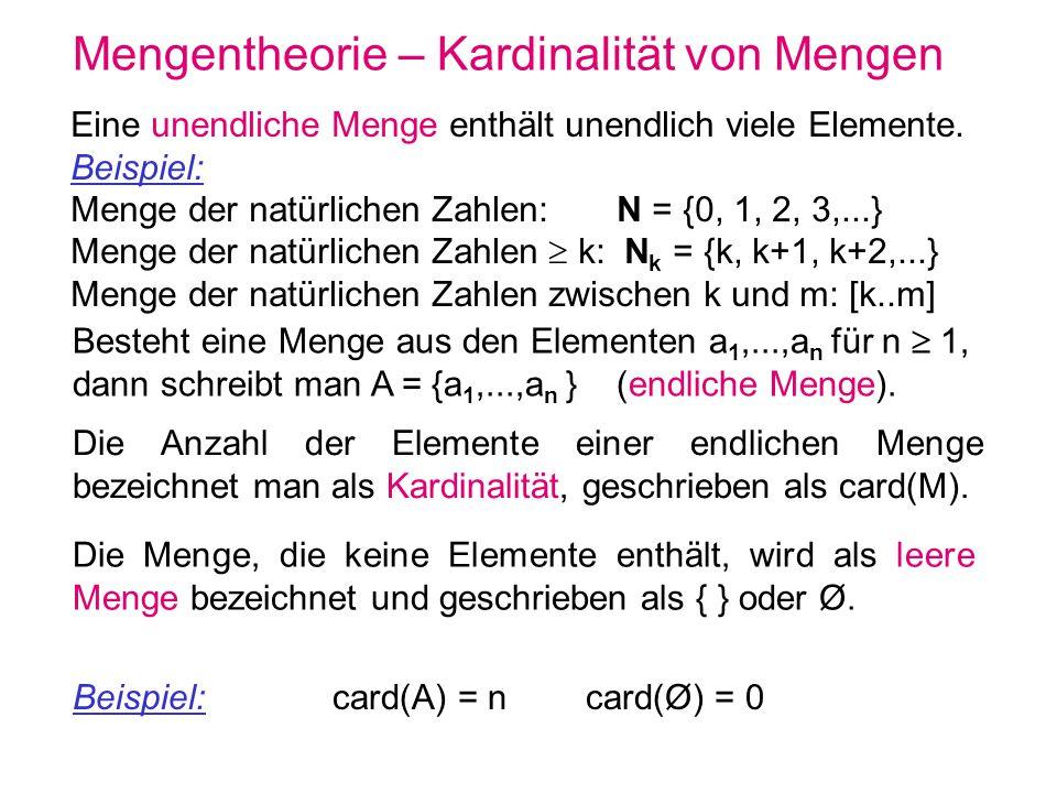 Mengentheorie – Mengenvorschrift Mengen können auch durch eine Mengenvorschrift angegeben werden: { x | E(x) } Menge der Objekte x für die E(x) gilt { x A | E(x) } Menge der Objekte aus der Menge A für die E(x) gilt { x A | E(x) } ist äquivalent zu { x | E(x) und x A } Beispiel: { n | n = m 2 für m N }