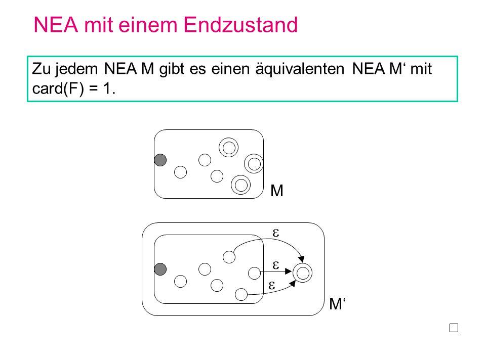 NEA mit einem Endzustand Zu jedem NEA M gibt es einen äquivalenten NEA M mit card(F) = 1. M M