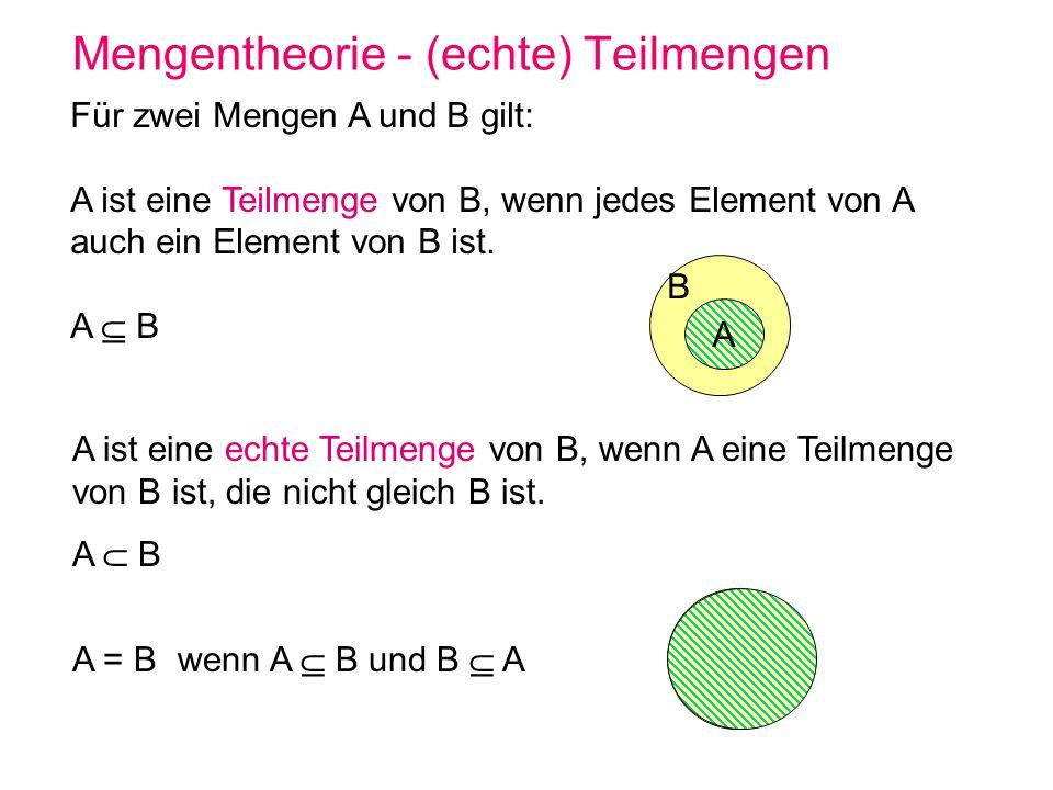 Mengentheorie – Operationen auf Mengen Vereinigung: A B := { x | x A oder x B } AB Vereinigung endlich vieler Mengen M 1,..,M n i {1,...,n} M i Vereinigung abzählbar unendlich vieler Mengen M 1,M 2,...